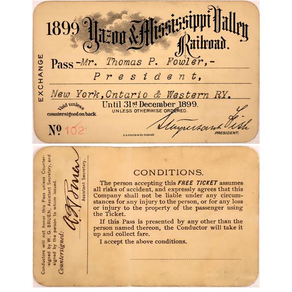 Railroad Pass, Yazoo & Mississippi Valley Railroad  [140230]