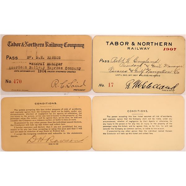 Railroad Passes, Tabor & Norther RY Co - 2  [140235]