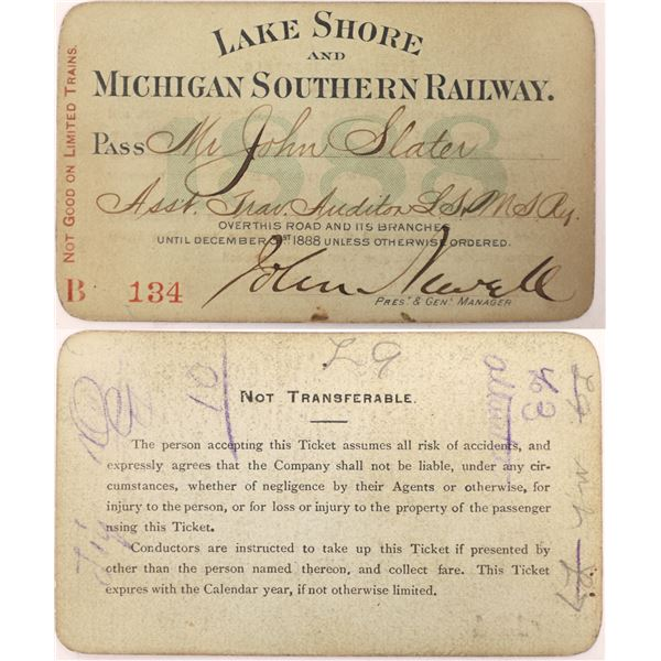 Lake Shore and Michigan Southern Railway Pass, 1888  [130522]