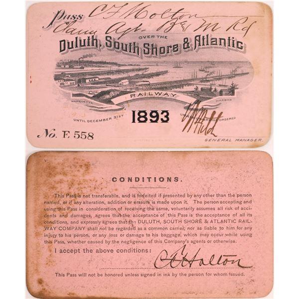 Duluth, South Shore & Atlantic Railway Pass, 1893  [130505]