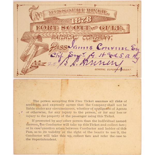 Missouri River, Fort Scott and Gulf Railroad Company Pass, 1878.   [130504]