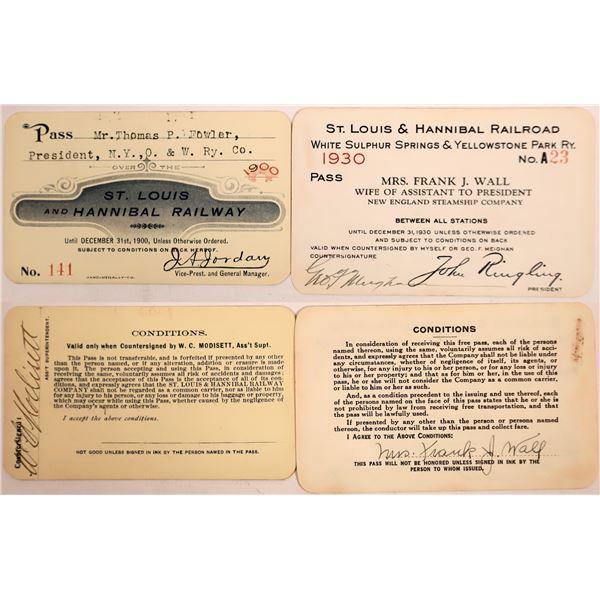 Railroad Passes, St. Louis & Hannibal Railway/Railroad - 2  [140405]