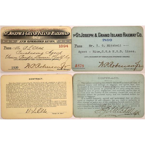 Railroad Passes, St. Joseph & Grand Island RY  [140400]