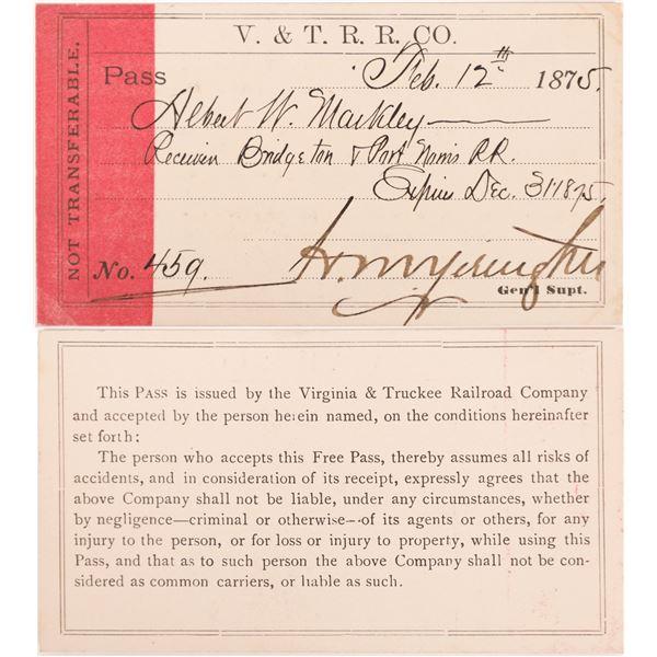 "Virginia & Truckee Railroad Pass, 1875, Signed by Yerington, ""Big Bonanza"" Era  [139834]"