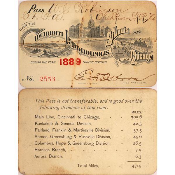 Cincinnati, Indianapolis, St. Louis and Chicago Railway Pass, 1889  [130518]