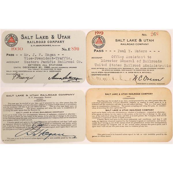 Railroad Passes, Salt Lake & Utah RR Co - 2  [140222]
