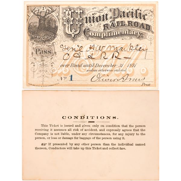 Union Pacific Railroad Pass No. 1, 1871, Signed by Ames  [139830]
