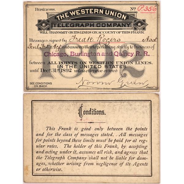 Western Union Telegraph Company 1892 Transmittal Pass  [130496]