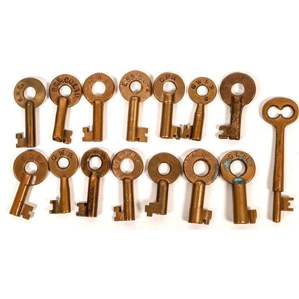 Railroad Lock Keys (14) w/Caboose Key, Western Canada/British Columbia RR Lines  [138636]