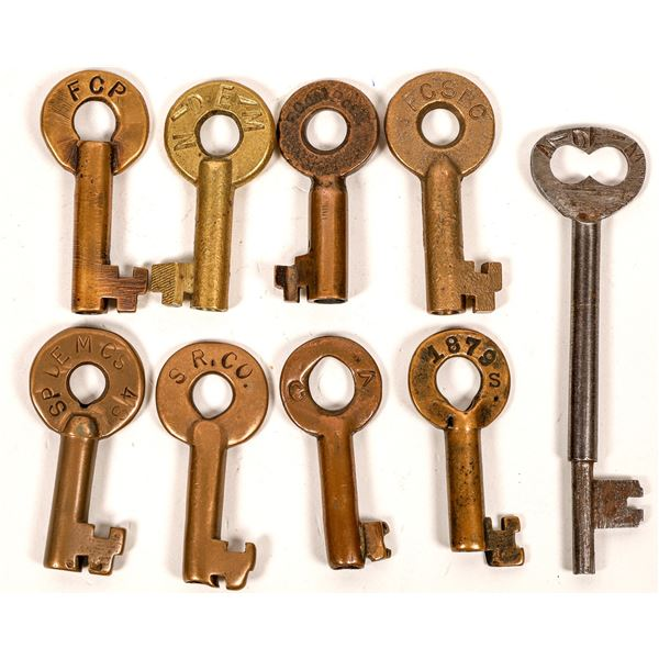 Railroad Lock Keys (9) w/Caboose Key, Foreign - Mexico RR Lines  [138634]