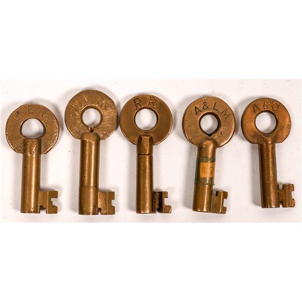 Railroad Lock Keys (5), various Arkansas RR Lines  [138651]