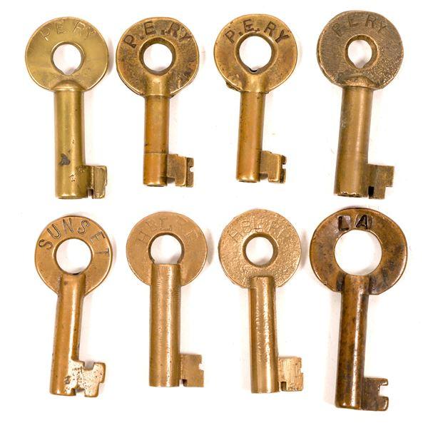 Railroad Lock Keys (8), CA - Los Angeles RR Lines  [138705]