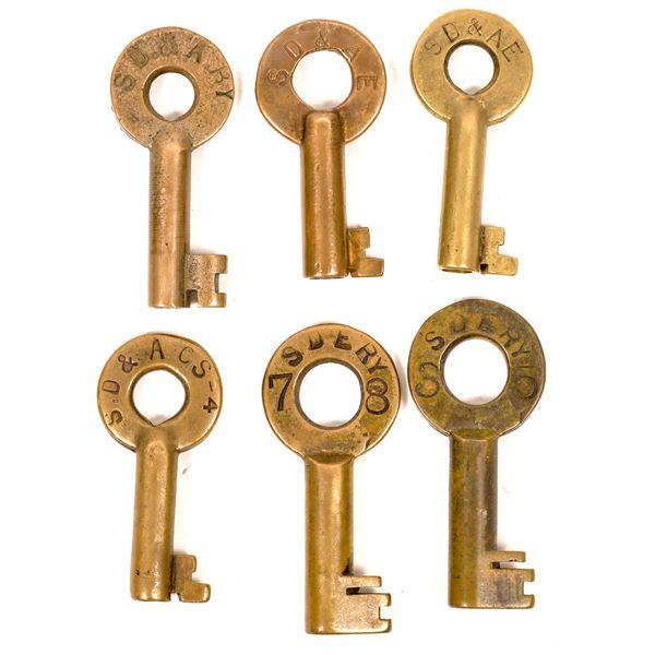 Railroad Lock Keys (6), CA - San Diego RR Lines  [138707]