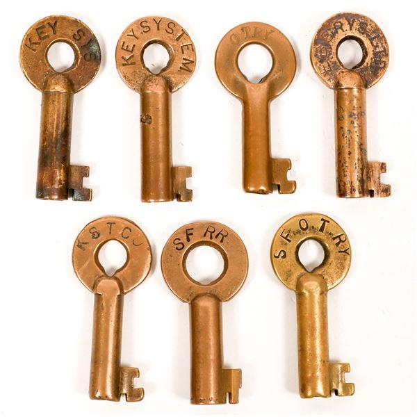 Railroad Lock Keys (7), CA - SF Bay Area RR Lines  [138698]
