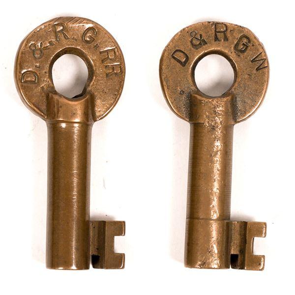 Railroad Lock Keys (2) from Denver - Rio Grande RR Line  [138260]