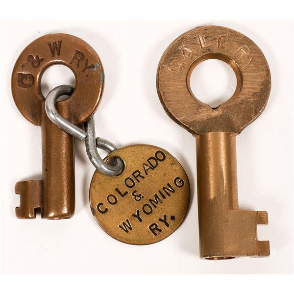 Railroad Lock Keys (2), different Colorado RR Lines  [138257]