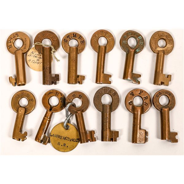 RailRoad Lock Keys (12), multiple Georgia RR Lines  [138655]