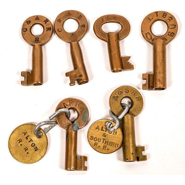 Railroad Lock Keys (6), various Illinois - Alton RR Lines  [138659]