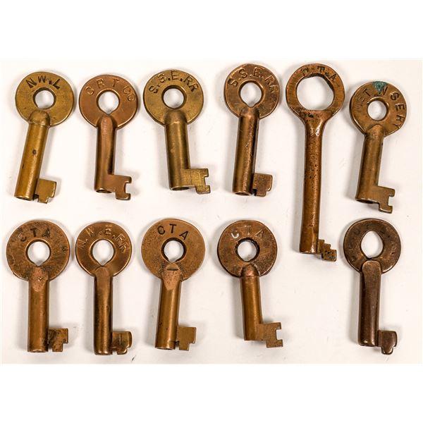 Railroad Lock Keys (11) w/Caboose Key, Illinois - Chicago Elevated Rails & CTA  [138611]