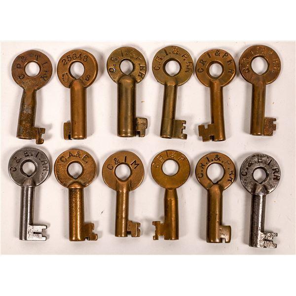 Railroad Lock Keys (12), different IL - Chicago RR Lines  [138620]