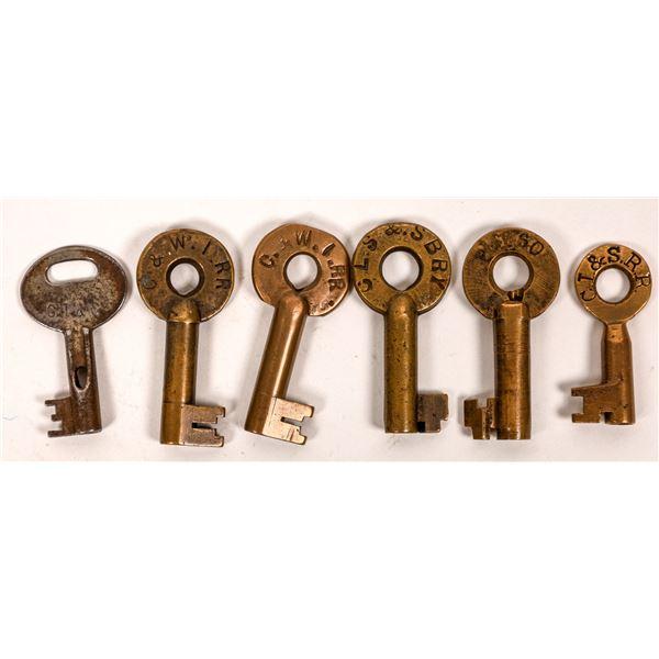 Railroad Lock Keys (6), IL - Chicago - Indiana RR Lines  [138617]
