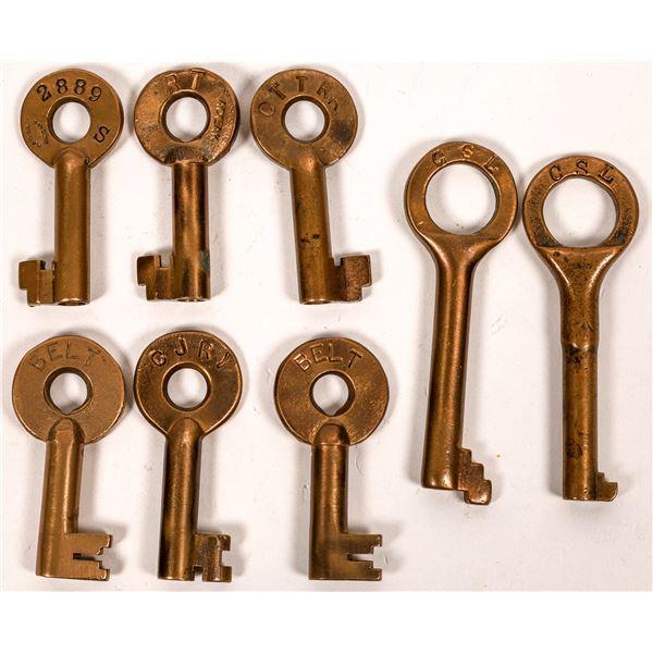 Railroad Lock Keys (8) w/Caboose/Cabin Keys, Illinois - Chicago Surface Rails  [138612]