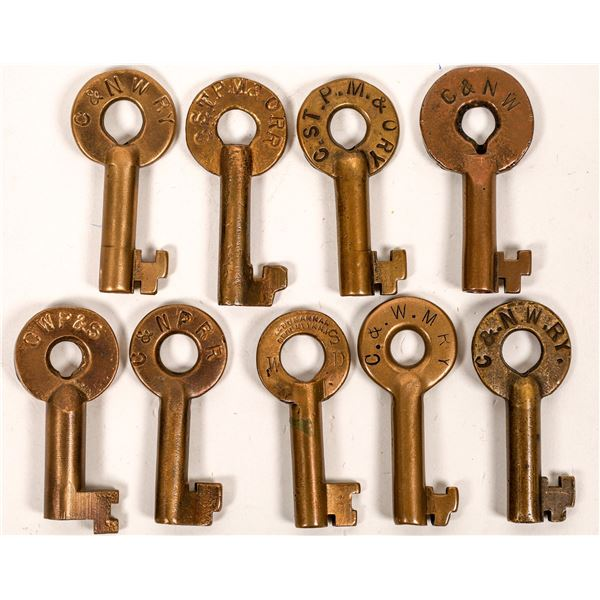 Railroad Lock Keys (9), IL - Chicago miscellaneous RR Lines  [138619]