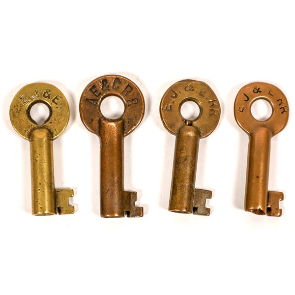 Railroad Lock Keys (4), select Illinois-Elgin RR Lines  [138658]