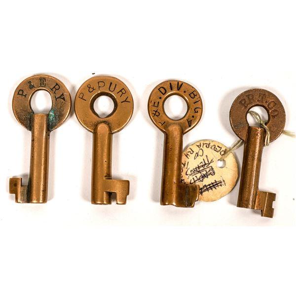 Railroad Lock Keys (4), various Illinois - Peoria RR Lines  [138656]