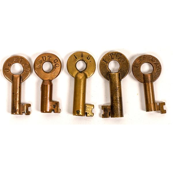 Railroad Lock Keys (5) , various Illinois Traction RR Lines  [138657]