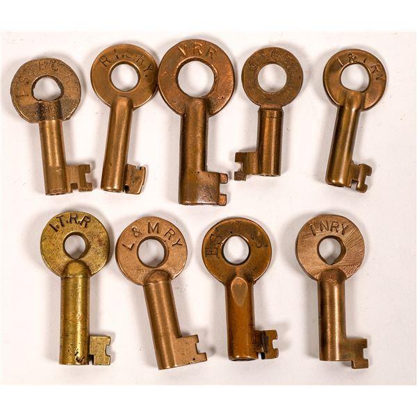 Railroad Lock Keys (9), various Illinois RR Lines  [138670]