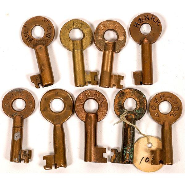 Railroad Lock Keys (9), different Kansas RR Lines  [138639]