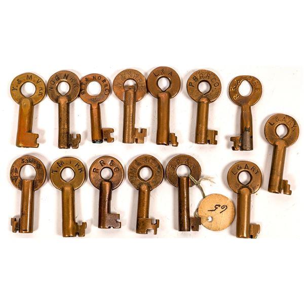 Railroad Lock Keys (14), multiple Louisiana RR Lines  [138643]