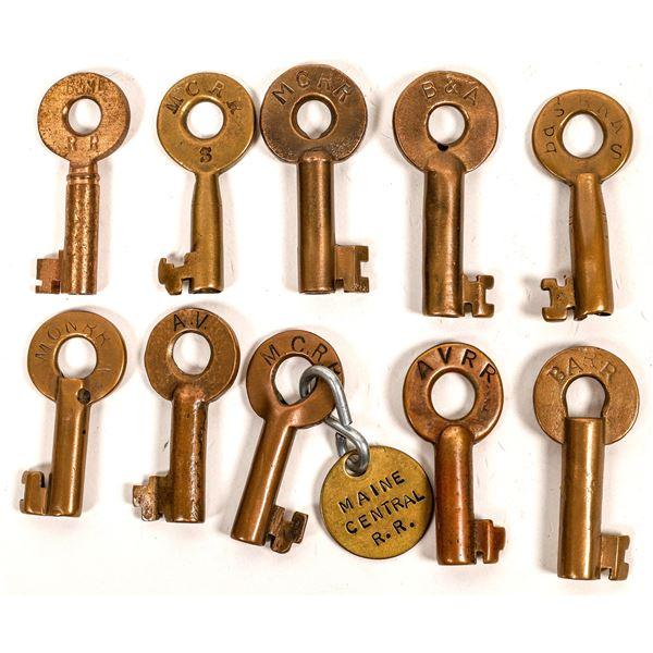 Railroad Lock Keys (10), multiple Maine RR Lines  [138644]