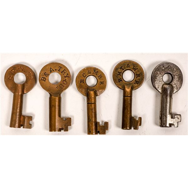 Railroad Lock Keys (5), Massachusetts - Boston RR Lines  [138646]