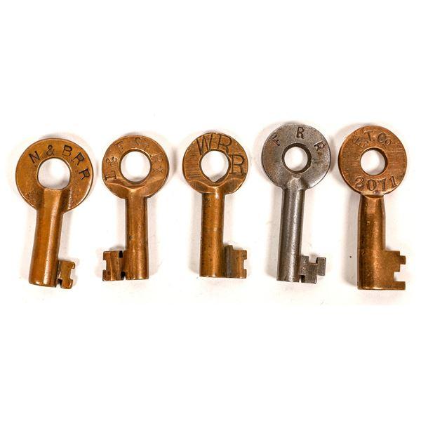 Railroad Lock Keys (5), Massachusetts RR Lines  [138640]