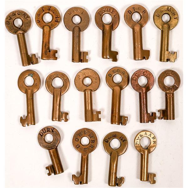 Railroad Lock Keys (16), Great Lakes - MI - Detroit RR Lines  [138695]