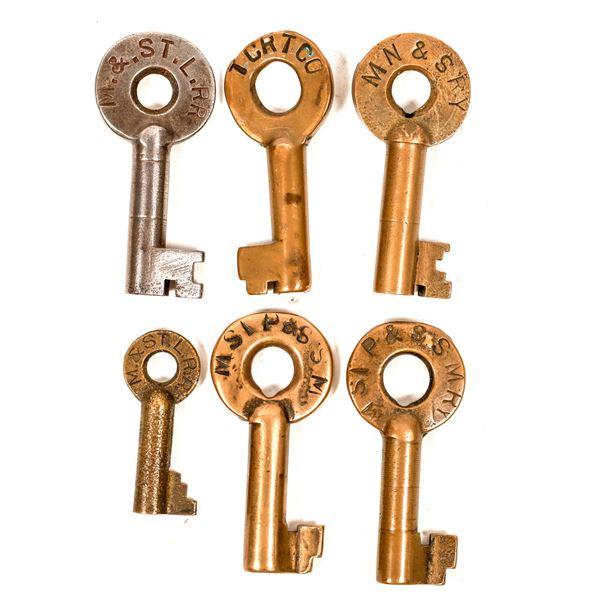 Railroad Lock Keys (6), Great Lakes - MN - Minneapolis RR Lines  [138691]