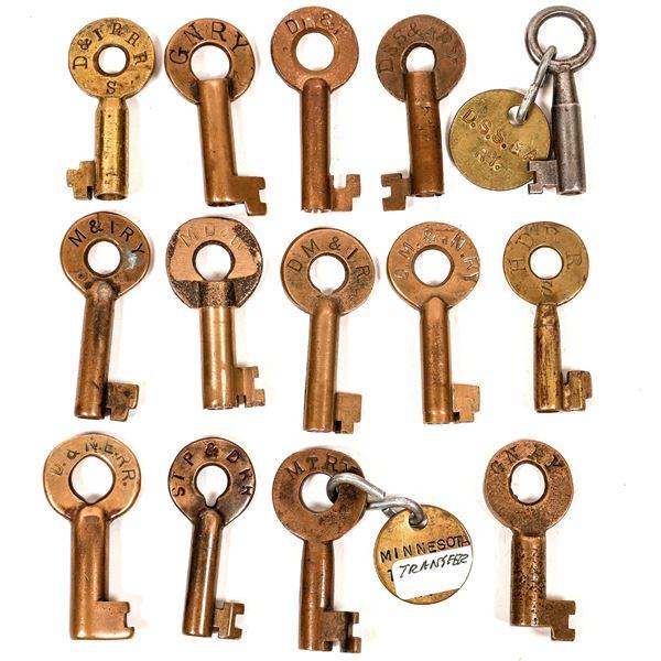 Railroad Lock Keys (14), Great Lakes - MN RR Lines  [138692]