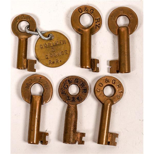 Railroad Lock Keys (6), Mississippi RR Lines  [138647]