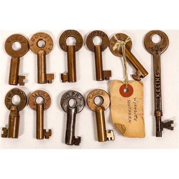 Railroad Lock Keys (10), multiple Missouri RR Lines  [138648]