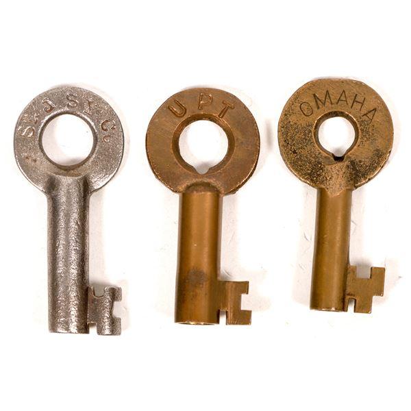 Railroad Lock Keys (3), various Nebraska RR Lines  [138677]