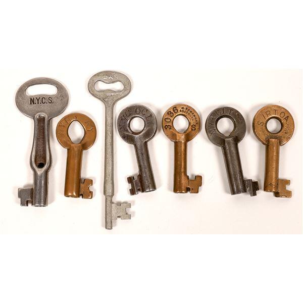 Railroad Lock Keys (7) w/Caboose Key, different New York City RR Lines  [138604]