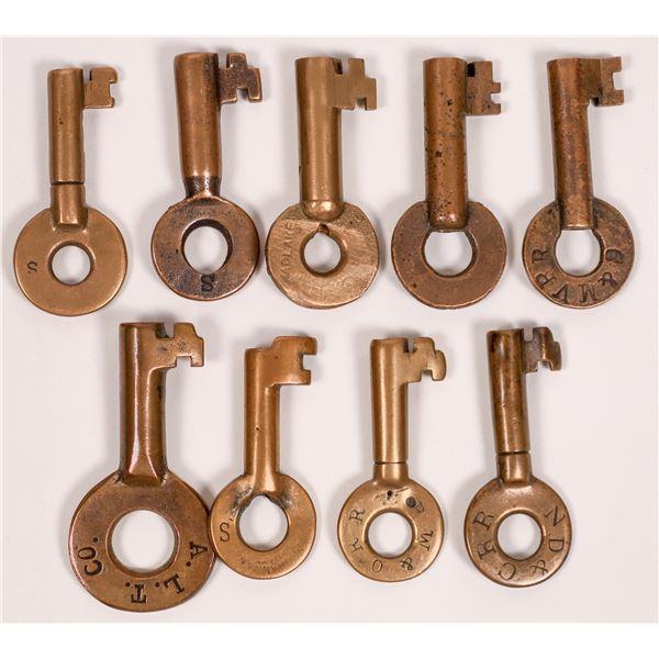 Railroad Lock Keys (9), different New York rural RR Lines  [138610]