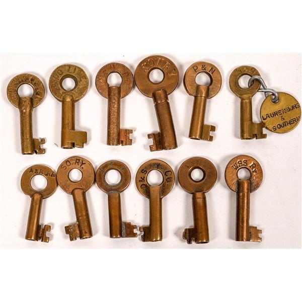 Railroad Lock Keys (12), multiple North & South Carolina RR Lines  [138653]