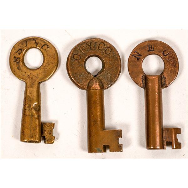 Railroad Lock Keys (3), various Oklahoma RR Lines  [138674]