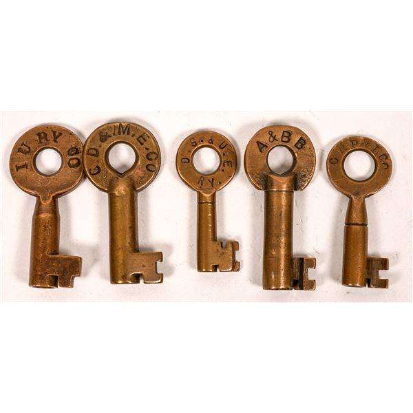 Railroad Lock Keys (5), various Oklahoma Electric RR Lines  [138675]