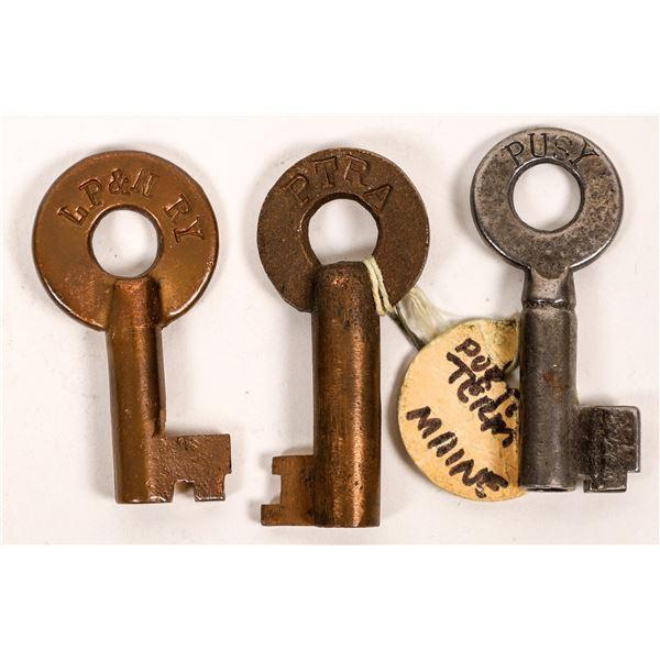 Railroad Lock Keys (3), different Oregon RR Lines  [138251]