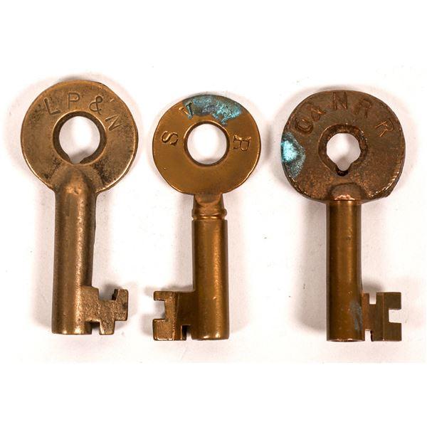 Railroad Lock Keys (3), different Oregon RR Lines  [138250]