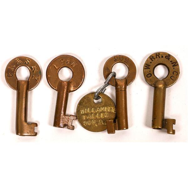 Railroad Lock Keys (4), different Oregon RR Lines  [138249]